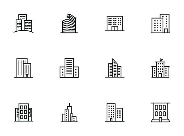 ilustrações, clipart, desenhos animados e ícones de jogo da linha do ícone dos edifícios da cidade - arranha céu