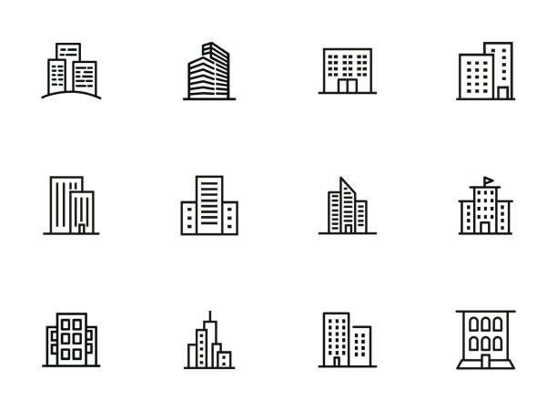 City buildings line icon set City buildings line icon set. Office building, apartment house, business area. Urban life concept. Can be used for topics like town, big city, architecture skyscraper stock illustrations