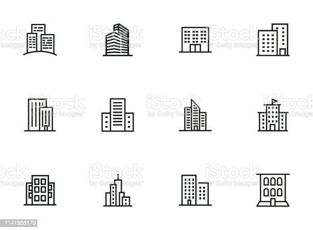 City Buildings Line Icon Set - Arte vetorial de stock e mais imagens de Alto - Descrição Física