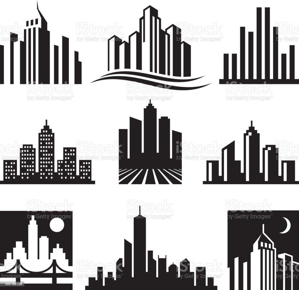 Preto Cidade Edifícios Logótipo Branco Vector Conjunto De ...