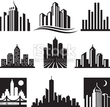 City Buildings Logo black & white icon set