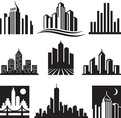 City Buildings Logo black & white vector icon set clipart
