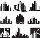 City Buildings Logo black & white icon set