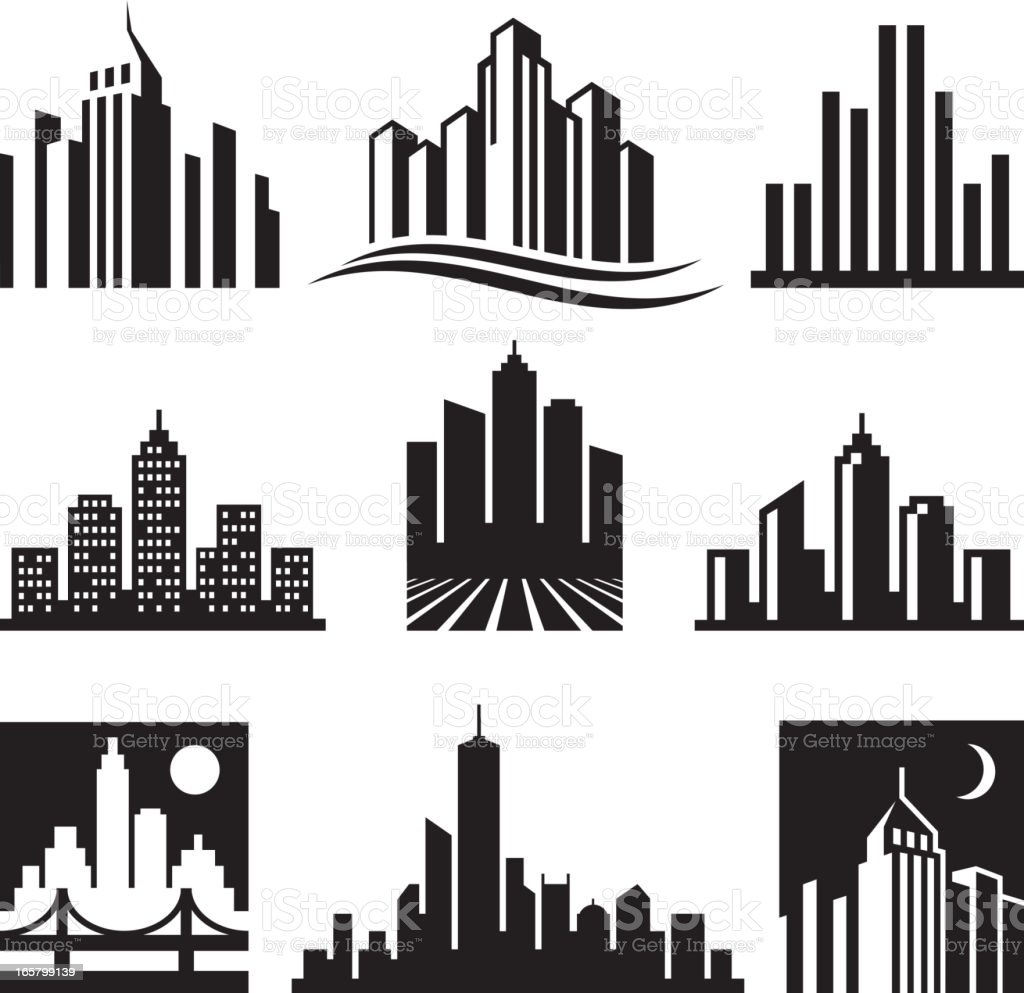 City Buildings Logo black & white vector icon set vector art illustration