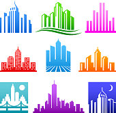City Buildings Logo color icon set