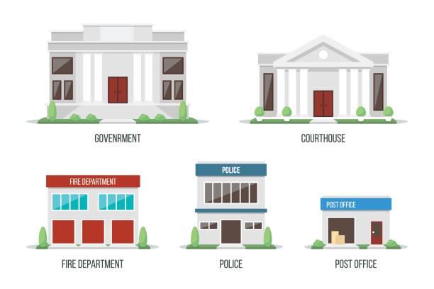 illustrations, cliparts, dessins animés et icônes de jeu de bâtiments de la ville 1 - commissariat