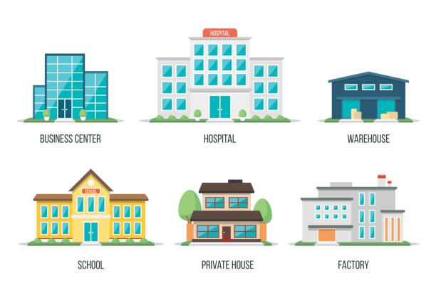 city buildings set 2 - warehouse stock illustrations