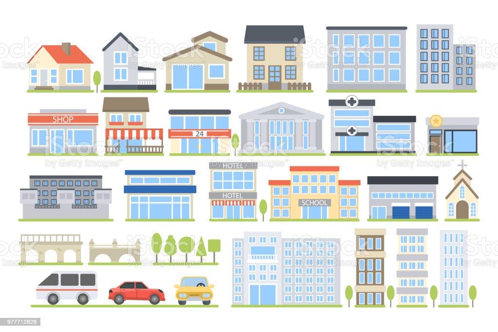 Conjunto de edificios de la ciudad. ilustración de conjunto de edificios de la ciudad y más vectores libres de derechos de abstracto libre de derechos