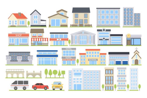 illustrazioni stock, clip art, cartoni animati e icone di tendenza di edifici della città impostati. - appartamento
