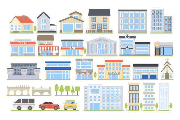 City buildings set. vector art illustration