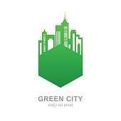 City buildings silhouette. Vector green logo design template. Abstract concept for real estate agency, building company, urban landscape, city life.