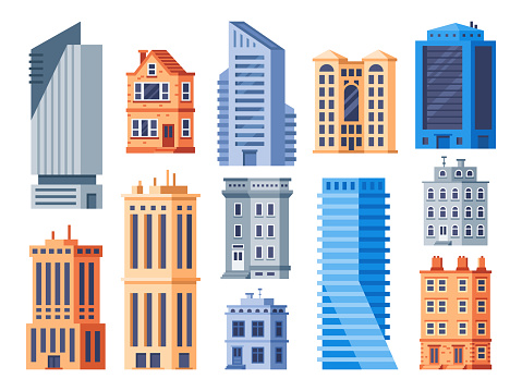 City buildings. Urban office exterior, living house building and apartment house isolated vector icons set