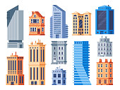 City buildings. Urban office exterior, living house building and apartment house. Municipal office, theater and cottage. Smart city buildings, future cityscape flat isolated vector icons set