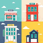 Urban and city building designs. Includes concept illustration vectors of a store or shop, an apartment building with a rent sign, a five star hotel and a small urban home. EPS 10 file. Transparency effects used on highlight elements.
