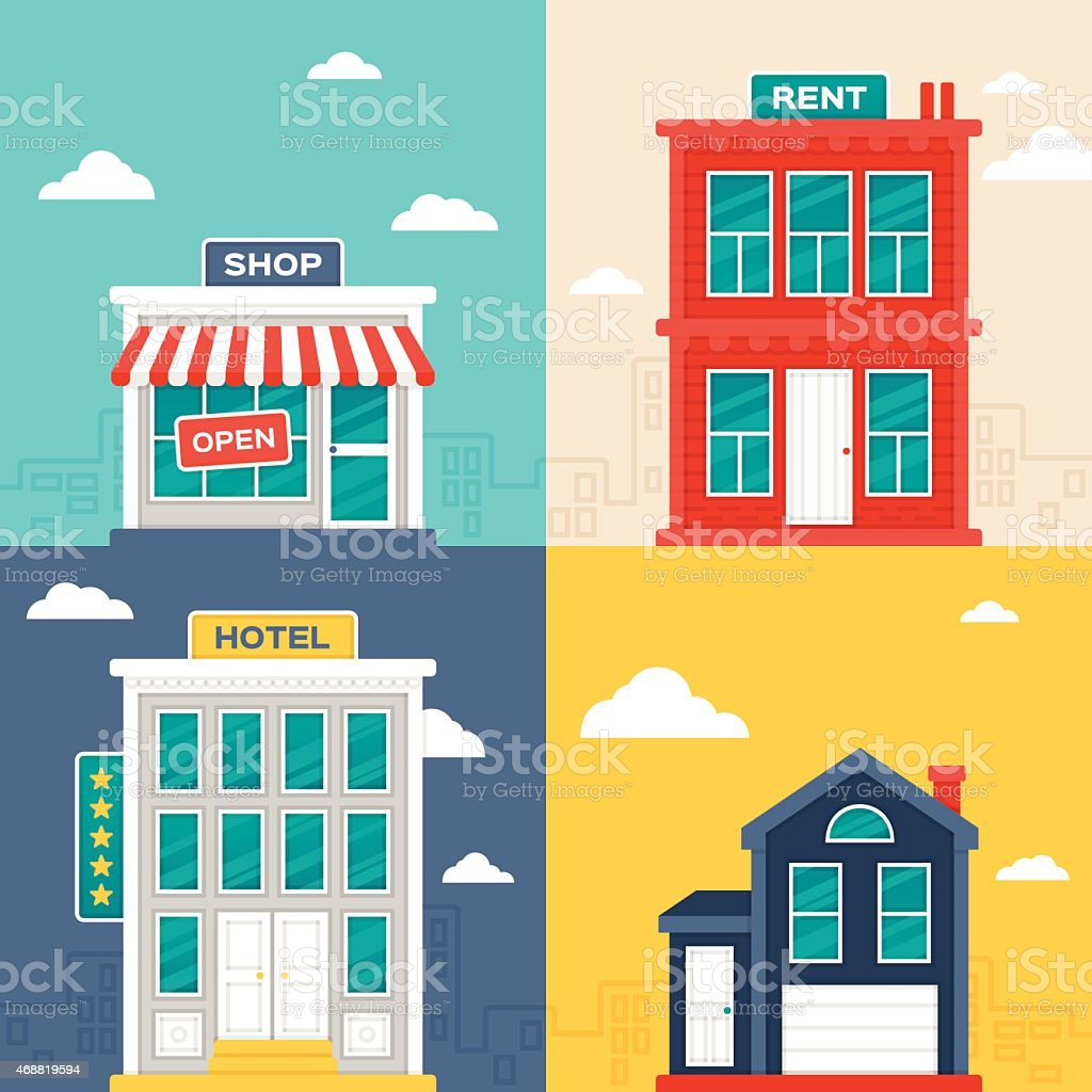 City Buildings vector art illustration