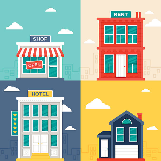 City Buildings Urban and city building designs. Includes concept illustration vectors of a store or shop, an apartment building with a rent sign, a five star hotel and a small urban home. EPS 10 file. Transparency effects used on highlight elements. facade stock illustrations