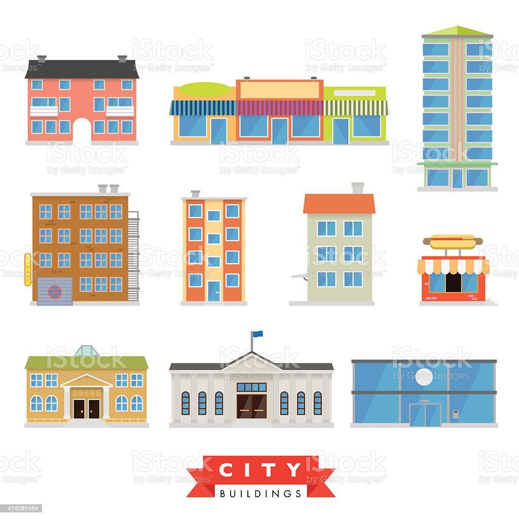 City Buildings Vector Set Stock Illustration - Download Image Now - iStock