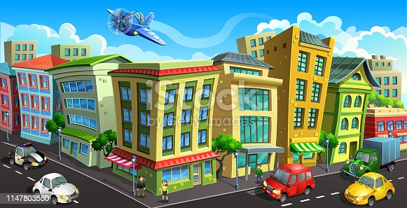 Vector drawing of a city street with colored houses and glass shop windows. City buildings with cars, people and aerocraft.