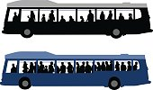 A vector silhouette illustration of two images of city buses carrying passengers.  One is in black and grey carrying fewer passengers.  The bottom image is very crowded and is in blue.