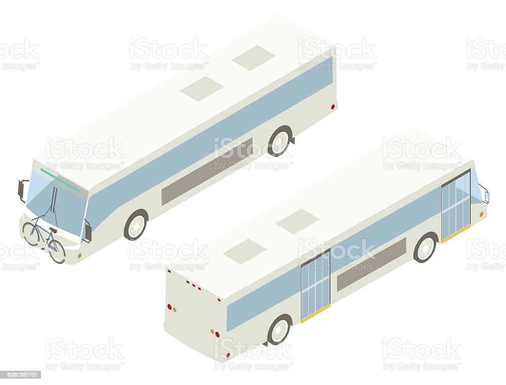 City Bus Isometric Illustration vector art illustration