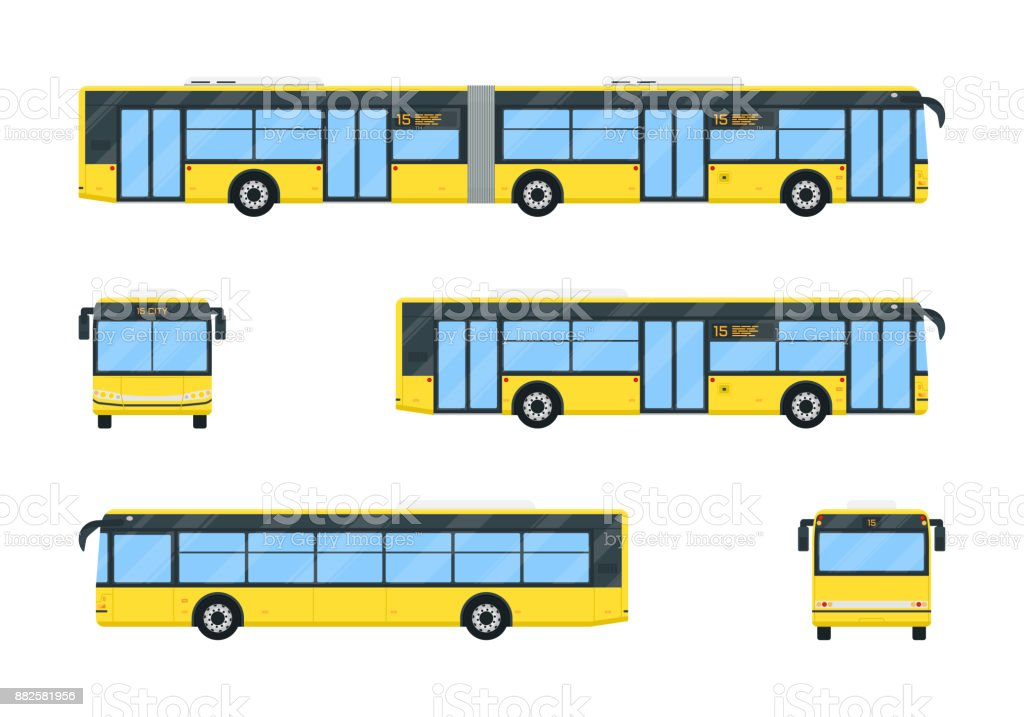 City bus set vector art illustration