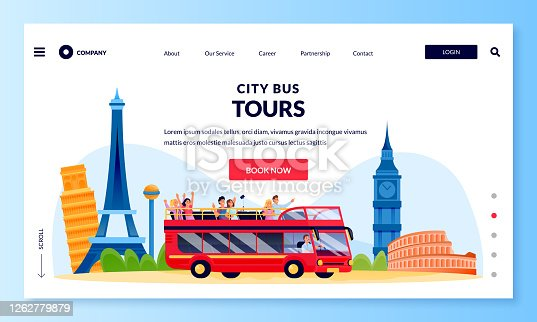 City bus tour in double decker, banner poster design template. Vector flat cartoon illustration of group of tourists on excursion in Europe. Travel and tourism concept