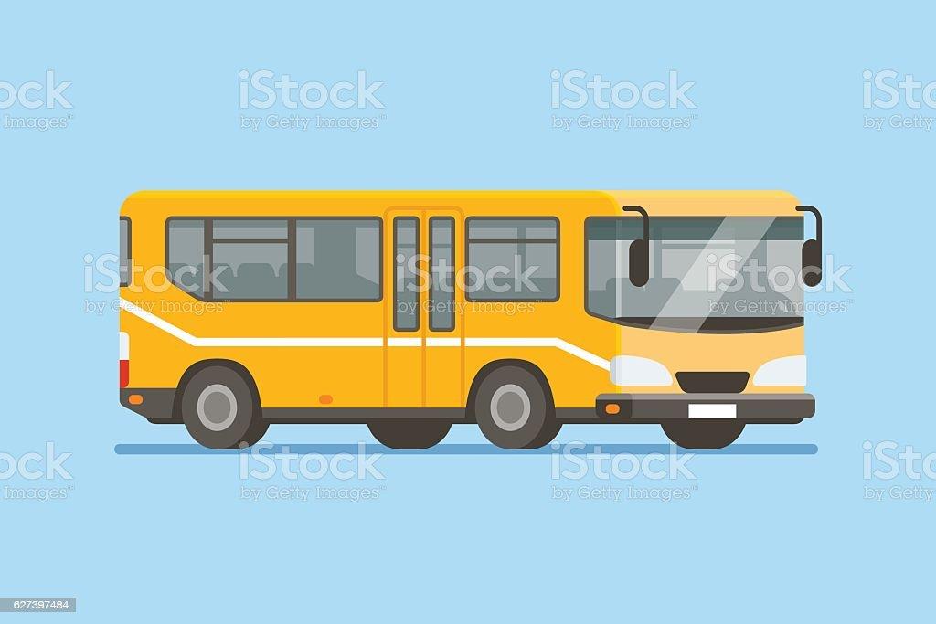 City bus vector illustration in modern flat style - ilustración de arte vectorial