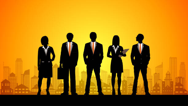 City Business People vector art illustration