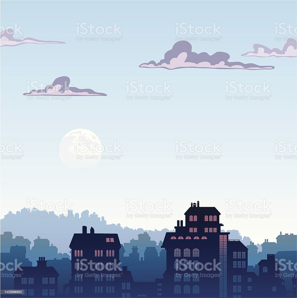 City by early morning royalty-free stock vector art