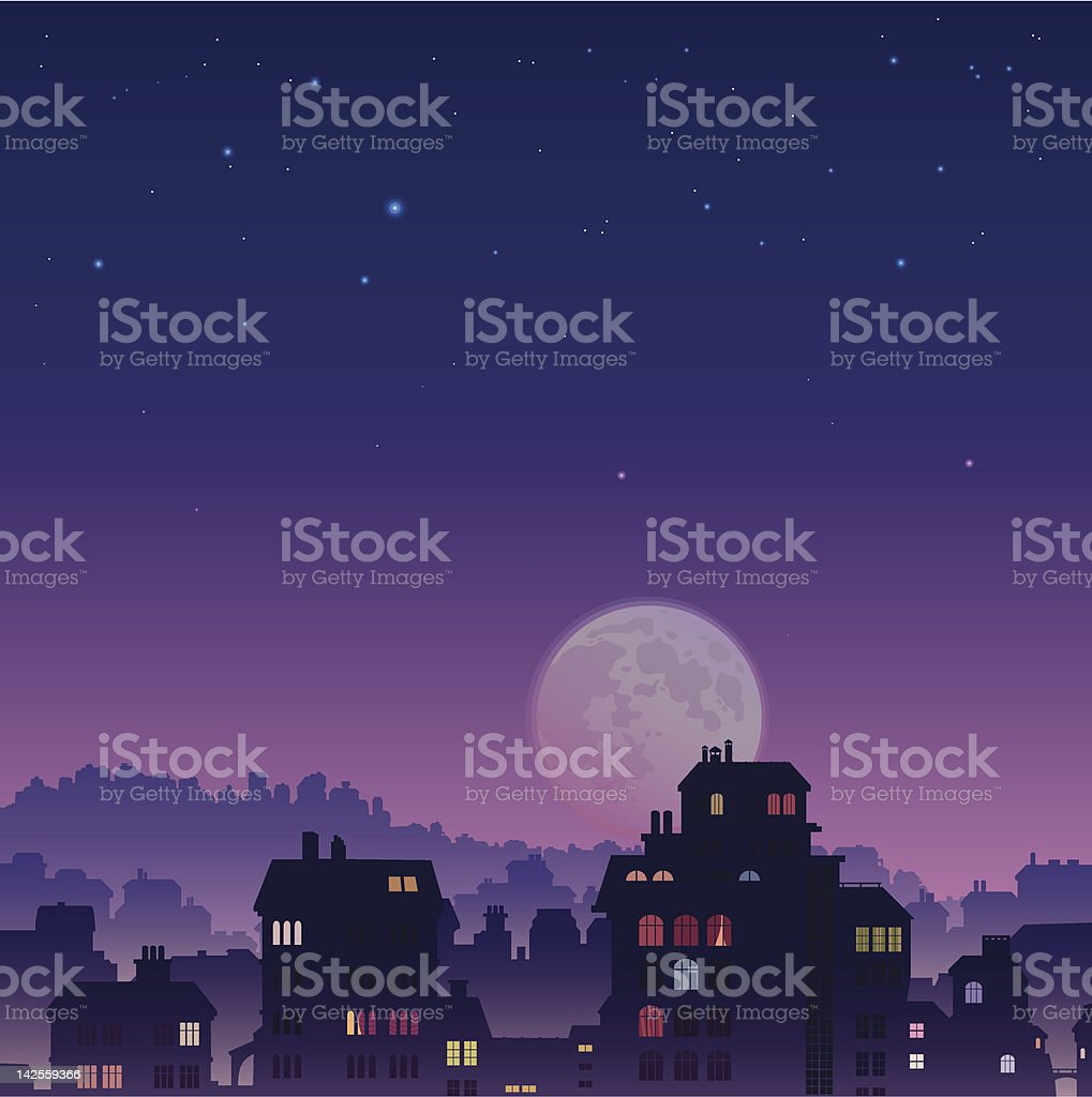 City by night royalty-free stock vector art