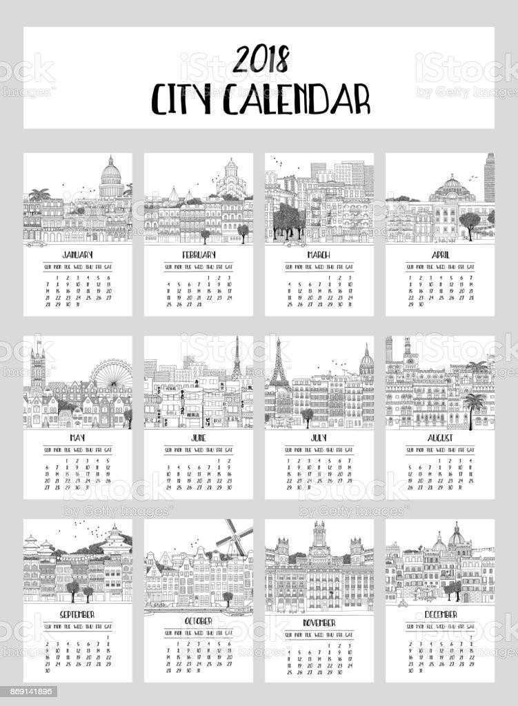 2018 City Calendar vector art illustration