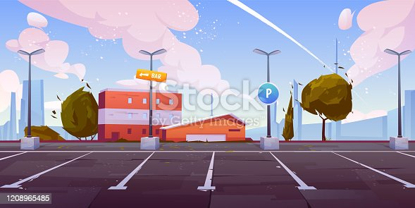 City street parking with parallel lots, empty car parking spaces on industrial outskirts with road sign, bar signpost on lamppost, urban infrastructure for automobiles cartoon vector illustration