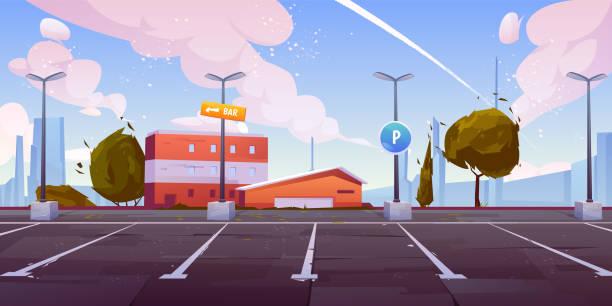 stockillustraties, clipart, cartoons en iconen met de auto parkeren van de stad lege percelen tekenverhaalvector - parking