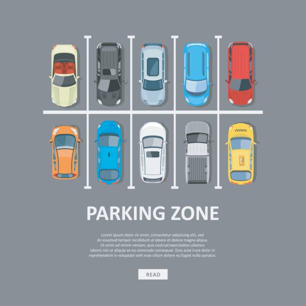 City car parking vector illustration in flat style City car parking vector illustration. Full parking area and a shortage of available places. Car Park top view in flat style. overhead stock illustrations