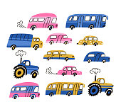 City cars and vehicles transport vector flat icons set. Car vehicle, publish transport and tractor isolated on the white background. Vector illustration