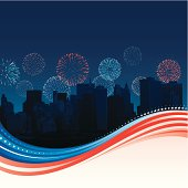 American flow design with New York city skyline and fireworks in background.