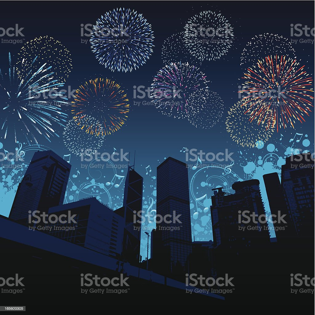 City celebration Fireworks in the sky above skyscrapers in Hong Kong city. Anniversary stock vector