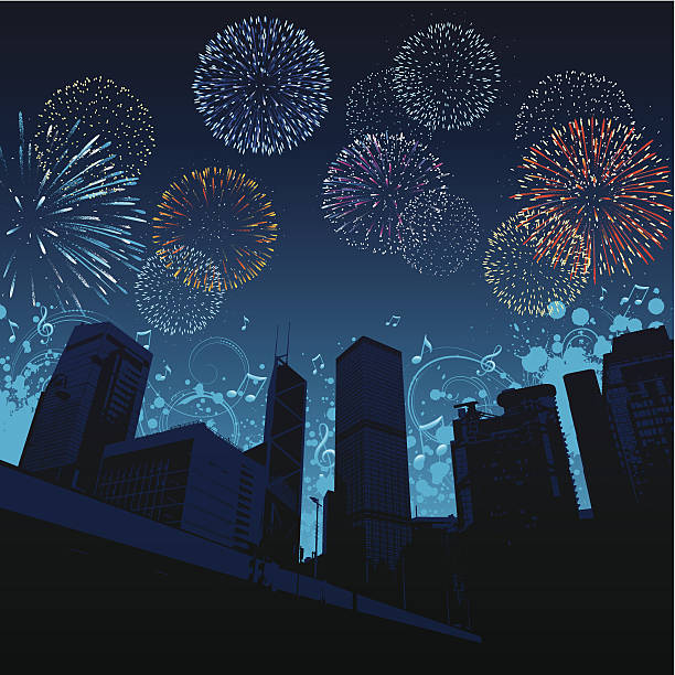 город» - fireworks stock illustrations