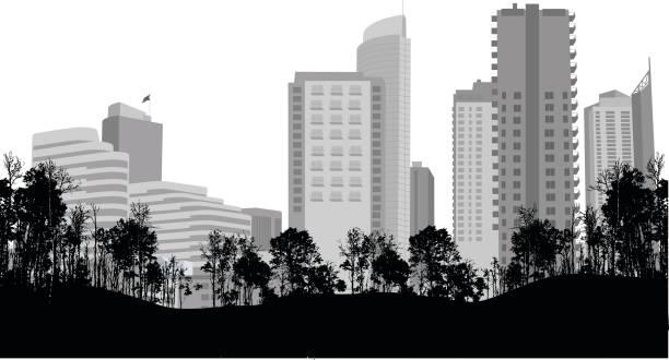 市内中心部のパーク ビュー - 都市 モノクロ点のイラスト素材/クリップアート素材/マンガ素材/アイコン素材