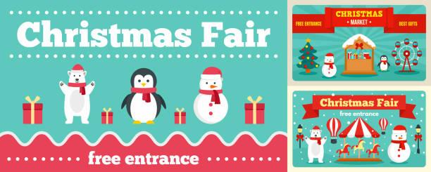 stadt weihnachtsmarkt banner-set, flachen stil - weihnachtsmarkt stock-grafiken, -clipart, -cartoons und -symbole