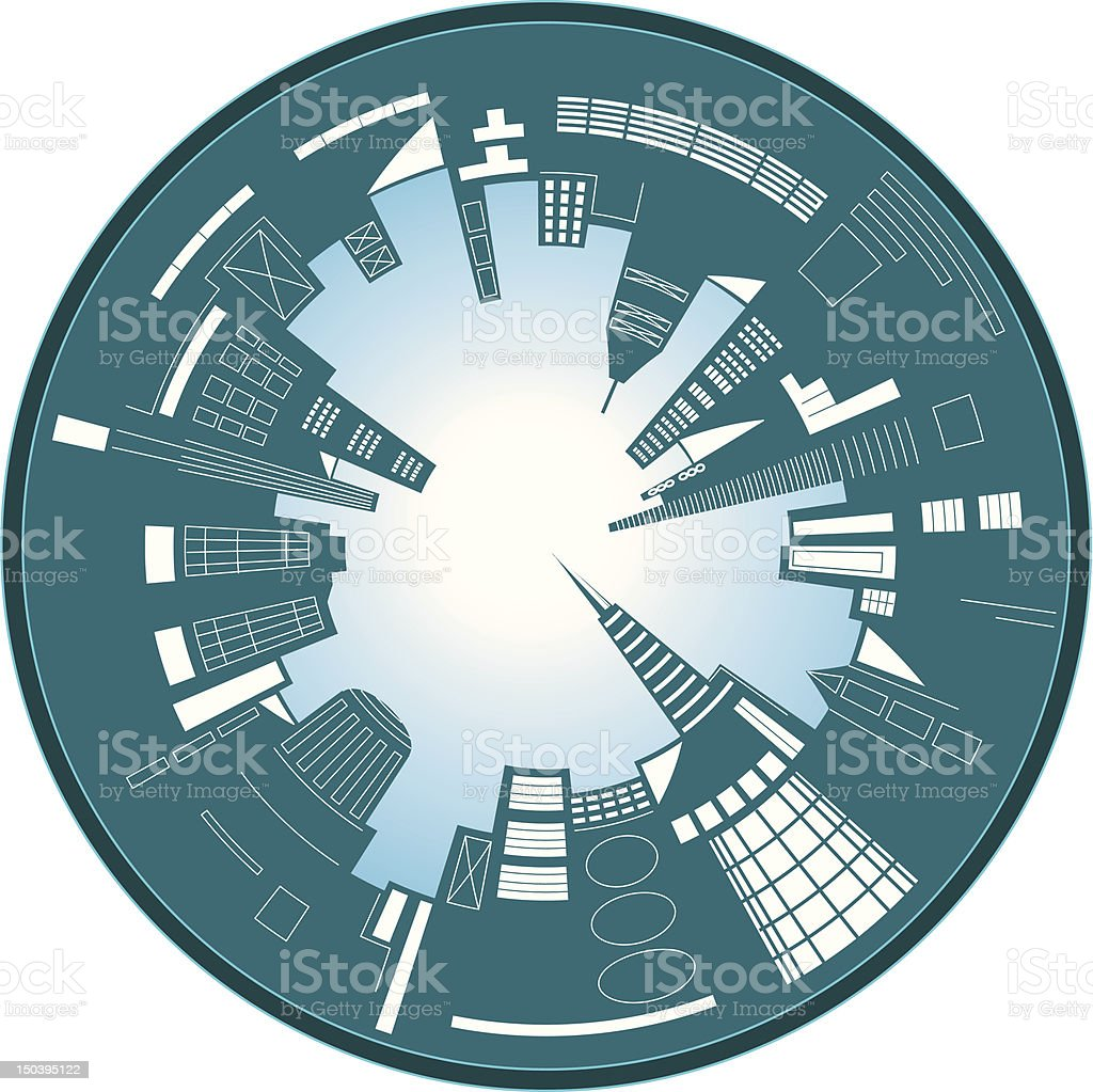 City circle vector art illustration