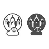 City cloud storage line and glyph icon. City data storage vector illustration isolated on white. Database cloud computing outline style design, designed for web and app. Eps 10