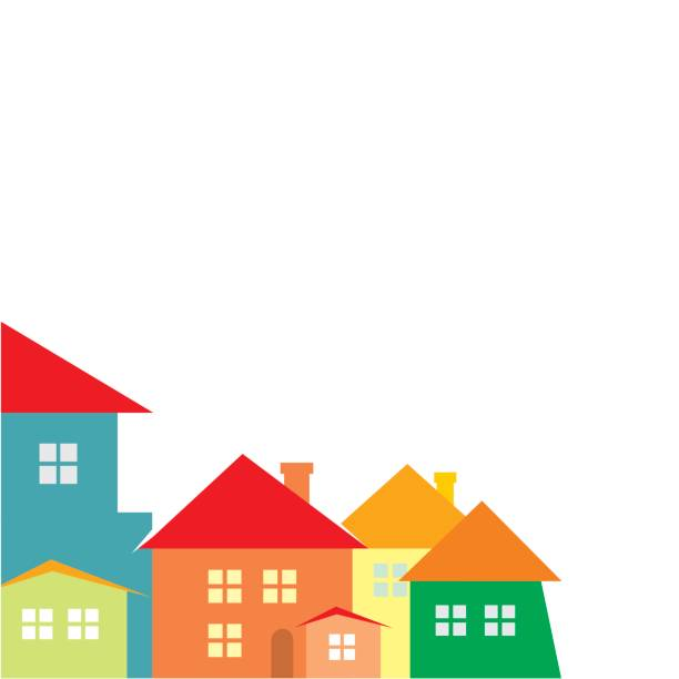 City, color silhouette Town, color silhouette. Vector icon. Group of housess. community borders stock illustrations
