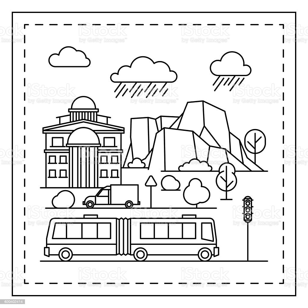 city coloring page for kids stock vector art  u0026 more images
