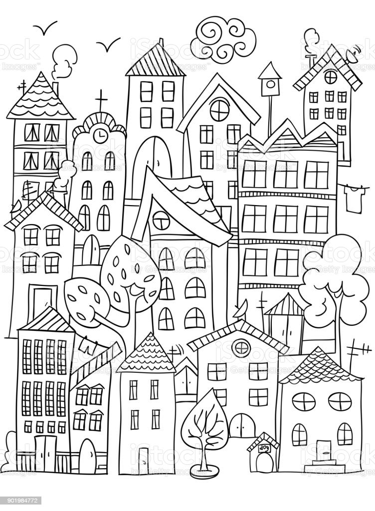 City Coloring Page Stock Illustration Download Image Now Istock