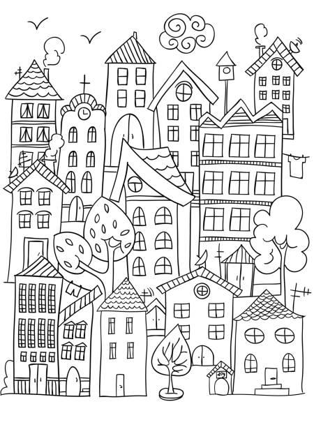 市の着色のページ。 - 都市 モノクロ点のイラスト素材/クリップアート素材/マンガ素材/アイコン素材