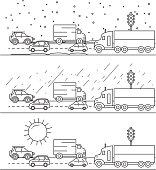 Vector illustration City commute Traffic driving weather conditions sets in outline line art style driving weather conditions such as snow, rain and sunshine. Fully editable. EPS 10.
