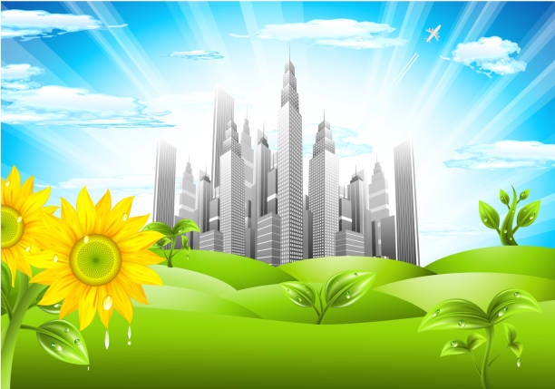 City concept Vector illustration of abstract city concept. Green downtown district. idyllic stock illustrations