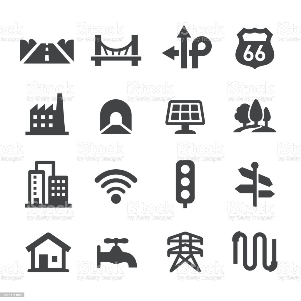 City Construction Icons Set - Acme Series vector art illustration