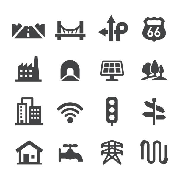 city construction icons set - acme series - konstrukcja budowlana stock illustrations
